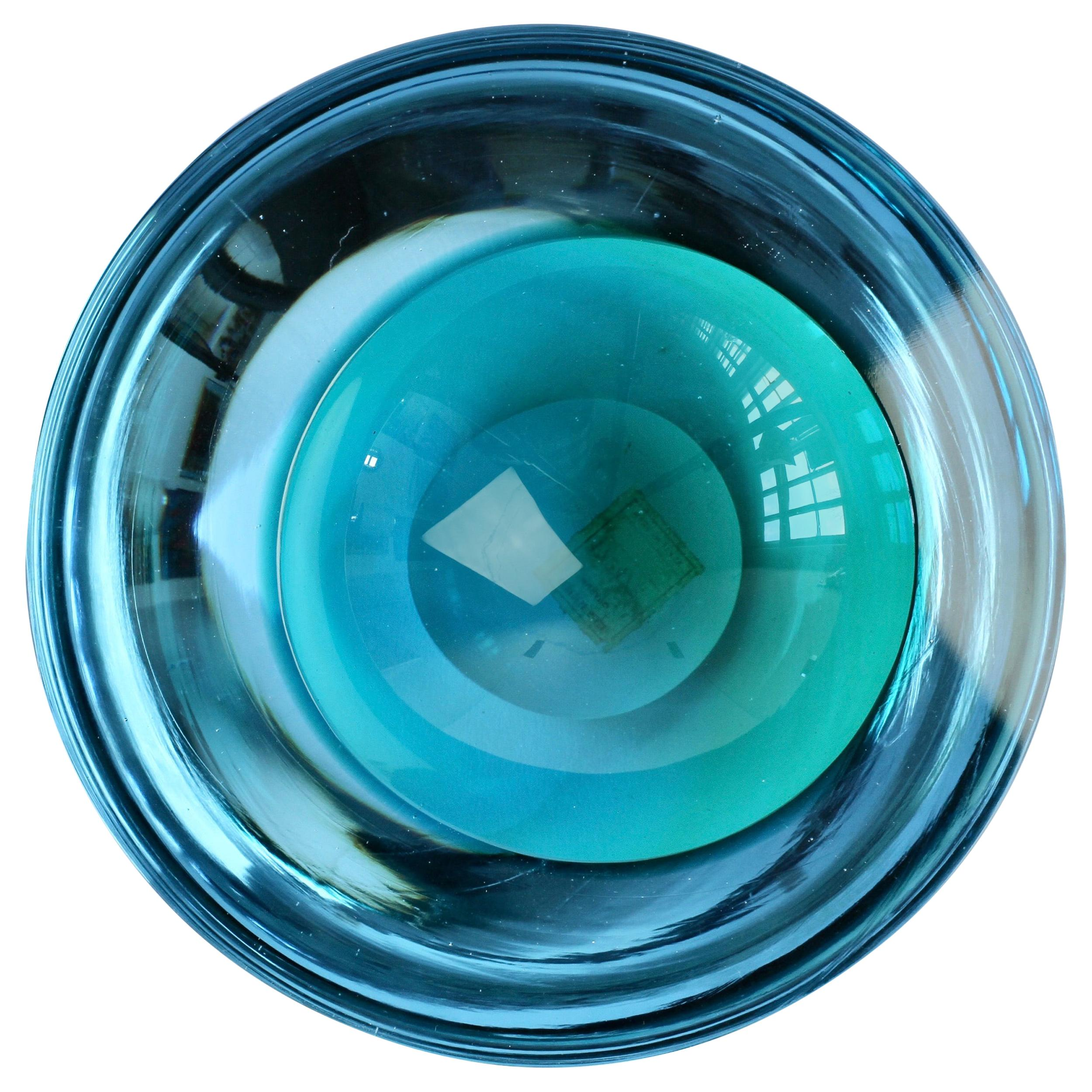 Large Cenedese Italian Asymmetric Blue Sommerso Murano Glass Bowl, Dish, Ashtray