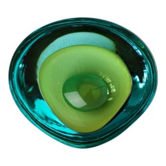 Large Cenedese Italian Asymmetric Green Sommerso Murano Glass Bowl Dish Ashtray