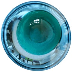 Large Cenedese Italian Blue & Green Sommerso Murano Glass Bowl, Dish or Ashtray