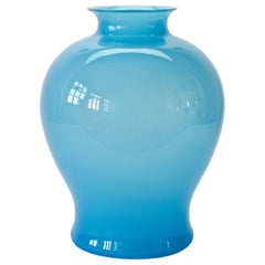 Large Cenedese Vintage Midcentury Opaline Blue Italian Round Murano Glass Vase