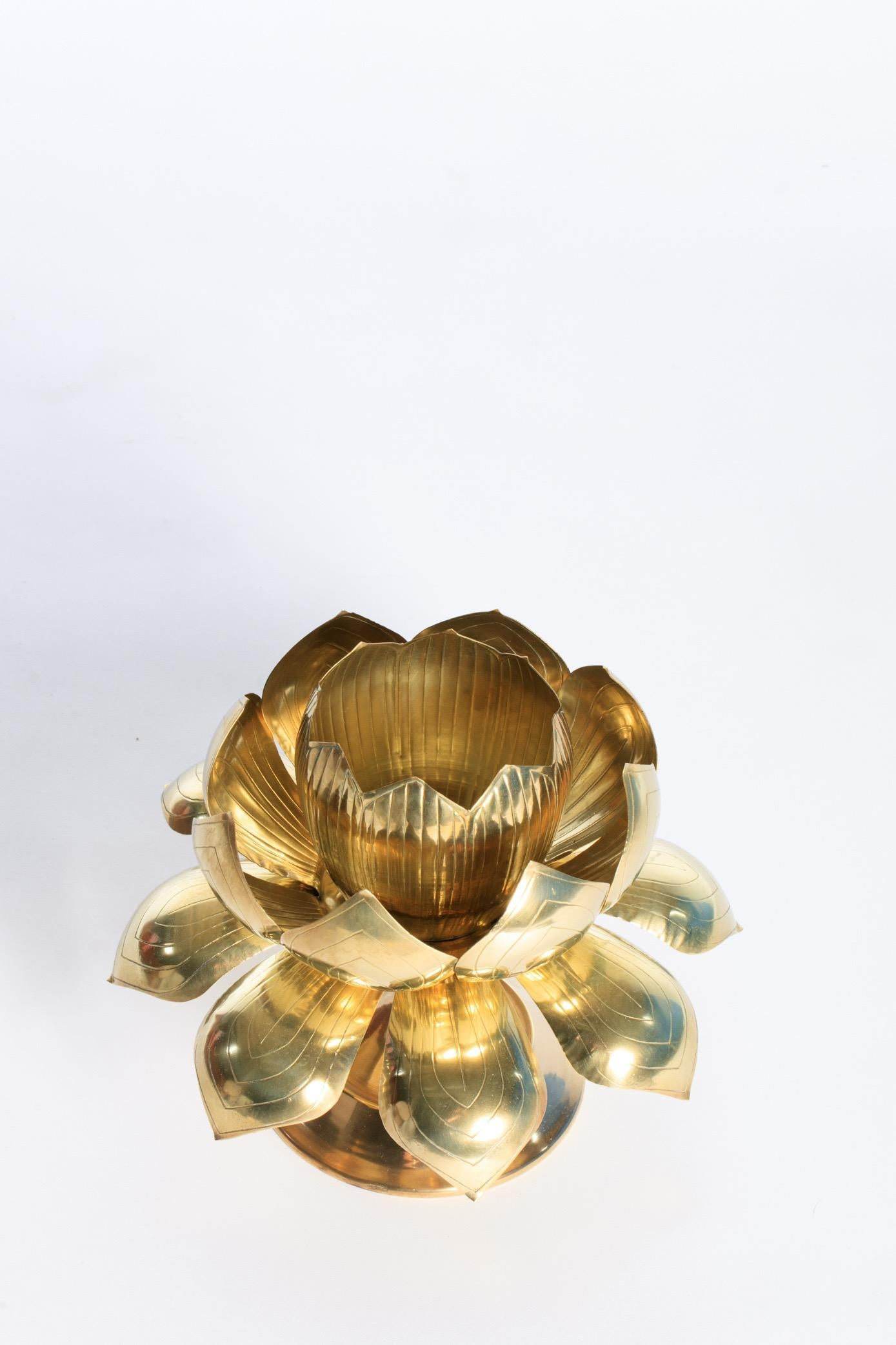 Parzinger Style Large Brass Centerpiece Lotus Candle Holders By Feldman Lighting For Sale At 1stdibs