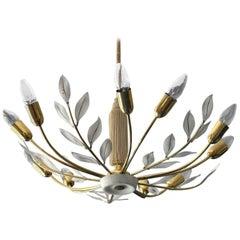 Large Century Floral Brass Sputnik Ceiling Lamp by the Vereinigten Werkstätten