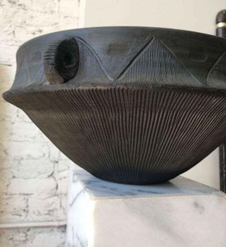 Large Ceramic Black Matte Midcentury Bowl For Sale 3