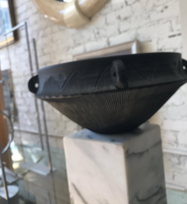 Large Ceramic Black Matte Midcentury Bowl For Sale 9