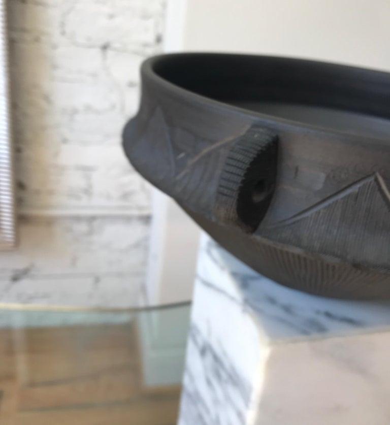 Large Ceramic Black Matte Midcentury Bowl For Sale 12
