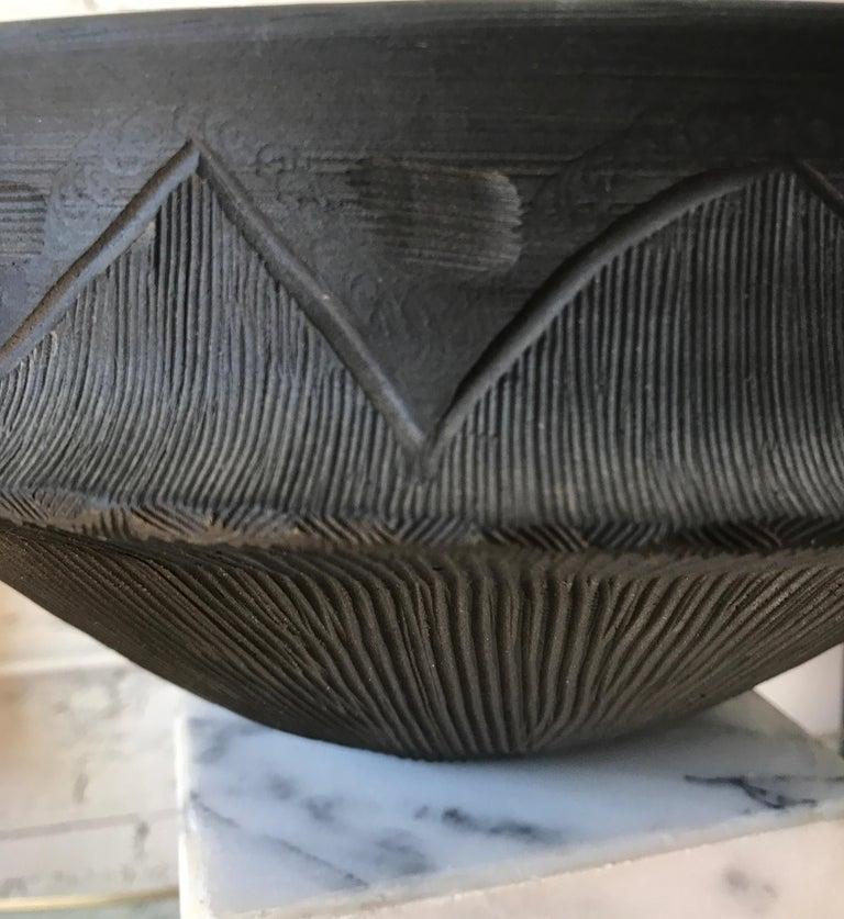 Large Ceramic Black Matte Midcentury Bowl For Sale 13