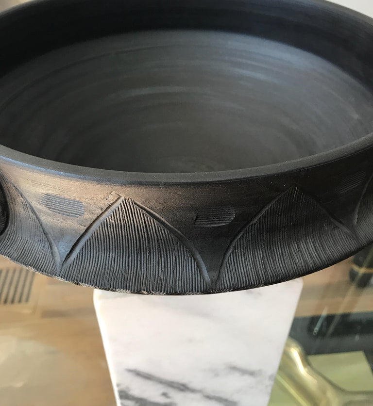 Mid-20th Century Large Ceramic Black Matte Midcentury Bowl For Sale