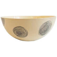 Large Ceramic Bowl with Swirling Design