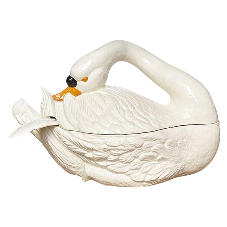 Large Ceramic Cream Painted Covered Swan Tureen with Feather Ladle