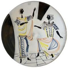 Large Ceramic Decorative Dish with Characters Signed by Roger Capron, 1955