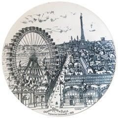 """Large Ceramic Dish, Celebrating """"La grande Roue de Paris"""", circa 1900"""
