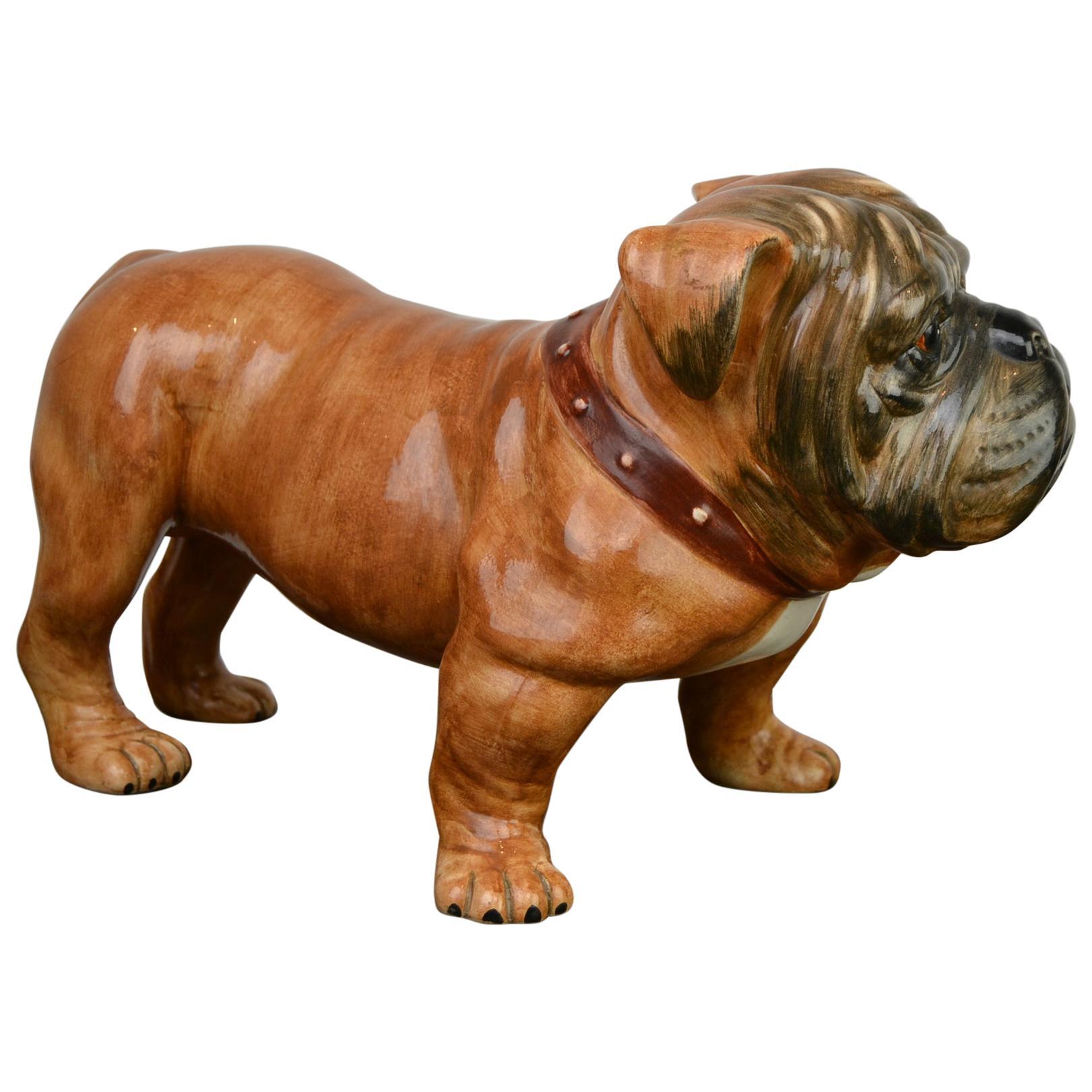 Large Ceramic English Bulldog Sculpture, Late 20th Century, Italy