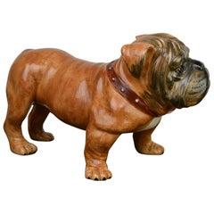 Large Ceramic English Bulldog Sculpture, Late 20th Century, Italy