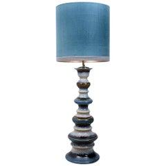 Large Ceramic Floor Lamp with New Silk Custom Made Lampshade René Houben, 1960s