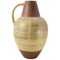 Large Ceramic Floor Vase with Midcentury Pattern, 1970s