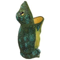 Large Ceramic Frog Umbrella Stand Hand Glazed