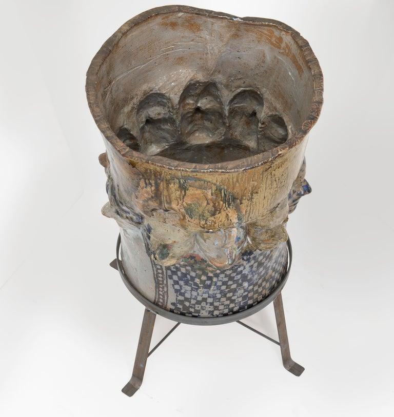 Large Ceramic Glazed Face Planter Pot For Sale 3