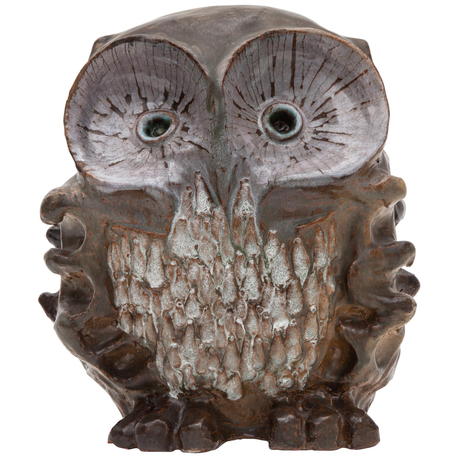 Large Ceramic Glazed Owl Sculpture by Perignem, 1970s Belgium