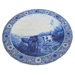Large Ceramic Hanging Plate Blue and White Dutch Delft Charger