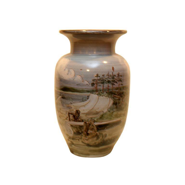 Large Ceramic Knabstrup Vase by Harald Folmer Gross For Sale