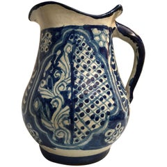 Large Ceramic Mexican Blue and White Talavera Pitcher