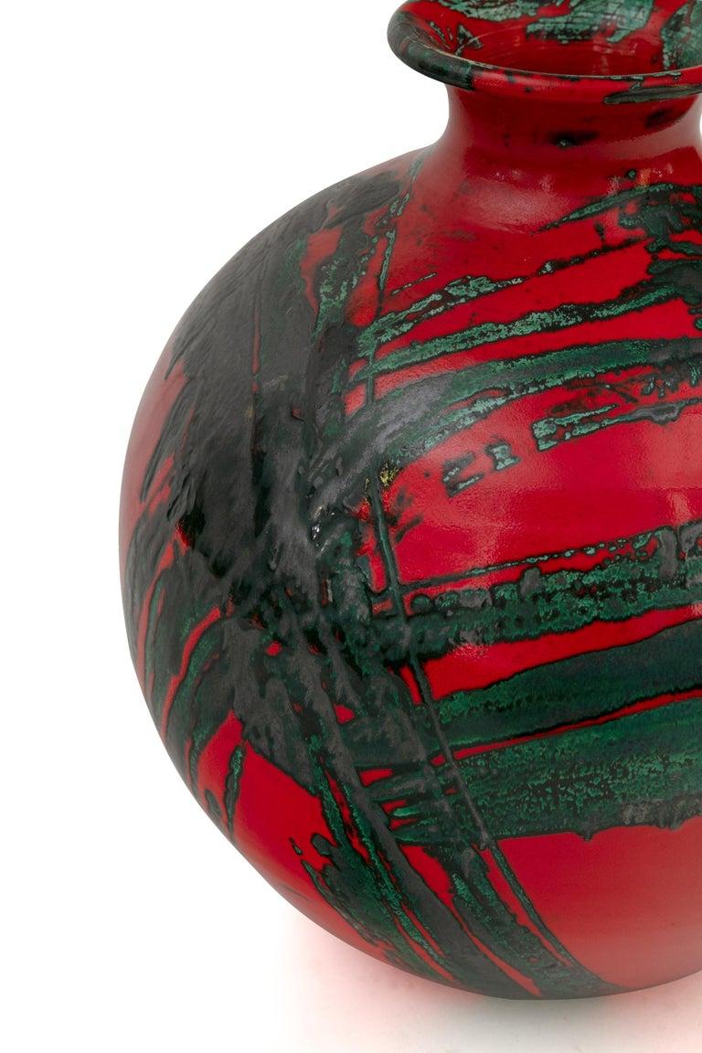 Italian Large Ceramic Midcentury Bulbous Red Vase, Italy 1960s For Sale
