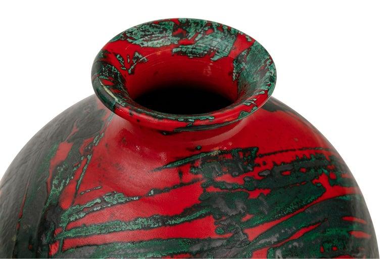 Glazed Large Ceramic Midcentury Bulbous Red Vase, Italy 1960s For Sale