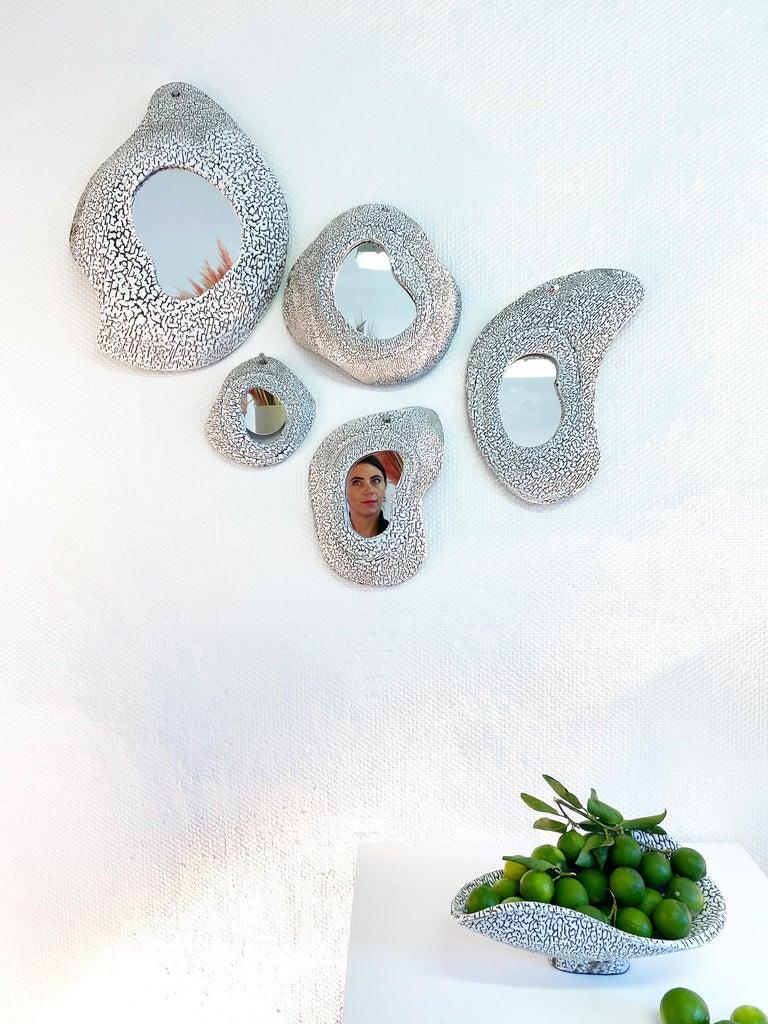 Modern Large Ceramic Mirror by Olivia Cognet For Sale