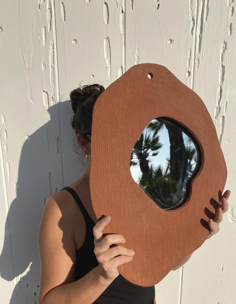 Contemporary Large Ceramic Mirror by Olivia Cognet For Sale
