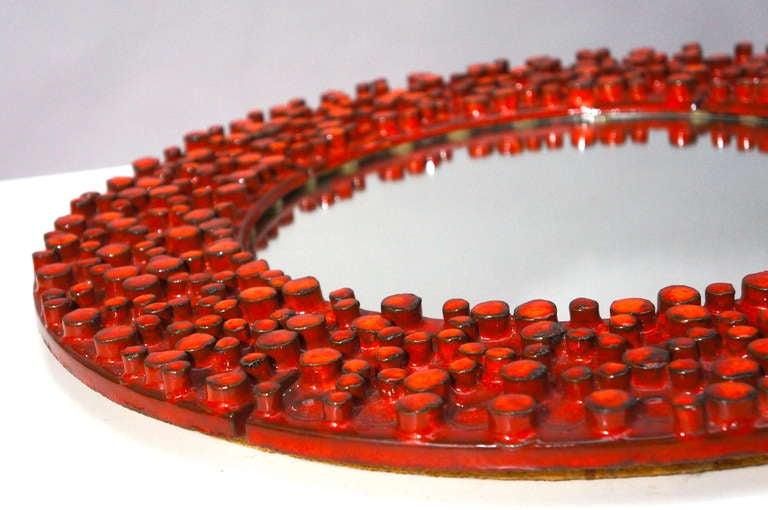 Glazed Large Ceramic Mirror by Oswald Tieberghien For Sale