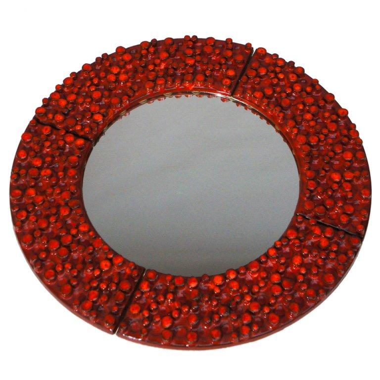 Large Ceramic Mirror by Oswald Tieberghien For Sale