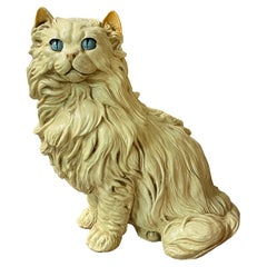 Large Ceramic Persian Cat Statue Figurine by Marwal