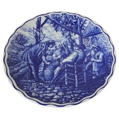 Large Ceramic Plate Blue and White Dutch Boch Delft Charger