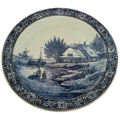 Large Ceramic Plate Blue and White Dutch Delft Charger