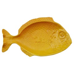 Large Ceramic Plate in the Shape of a Yellow Fish, Italy, 1970
