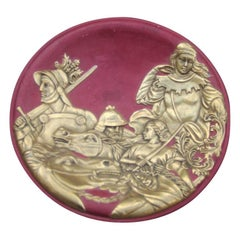 Ceramic Plate with Scenes of Warriors and Purple 24-Karat Gold Horses Finzi