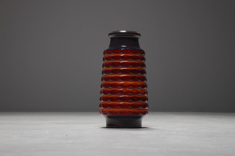 Very large colorful ceramic floor vase produced by Jasba Keramik, West Germany, 1970s.