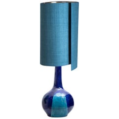 Large Ceramic Table Lamp with New Silk Custom Made Lampshade René Houben, 1960s