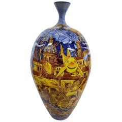 Large Ceramic Vase Glazed Earthenware Hand Painted Italy Contemporary Majolica