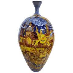 Large Ceramic Vase Glazed Earthenware Hand Painted Italy Contemporary Majolica