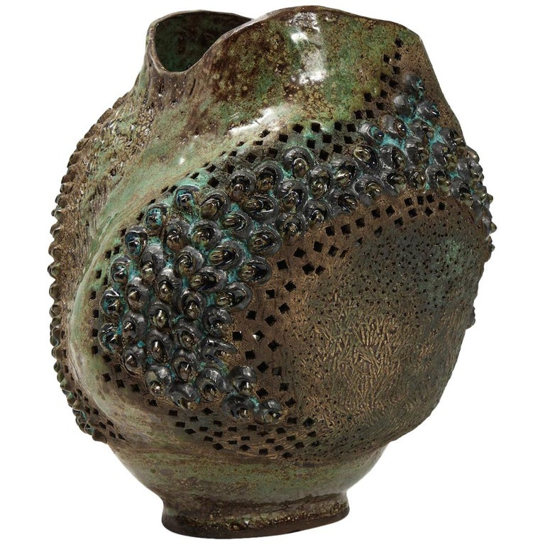 Large Ceramic Vessel by Dena Zemsky For Sale