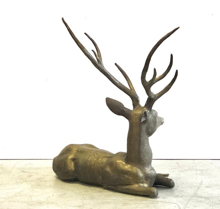 Large Cervo Deer Italian Brass Sculpture In Good Condition For Sale In Miami, FL
