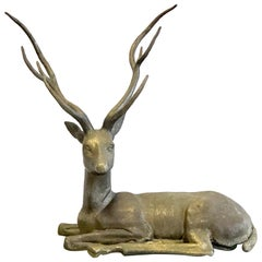 Large Cervo Deer Italian Brass Sculpture