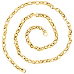 Large Chain Link Necklace, 14 Karat Yellow Gold Chain with Open Cable Links