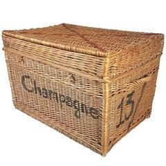Large Champagne Wicker Basket Trunk, 1930s, France
