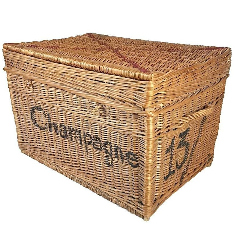 Large Champagne Wicker Basket Trunk 1930s France At 1stdibs
