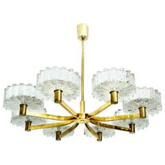 Large Chandelier 8 Icicle Glass Shades and Brass, Doria, circa 1960s