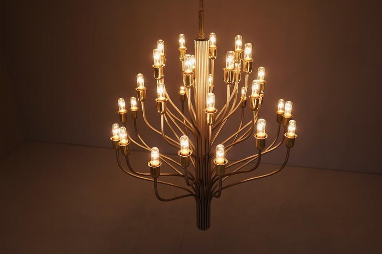 Large Chandelier by WKR Germany in Metal, Glass and Brass, 1980s For Sale 6