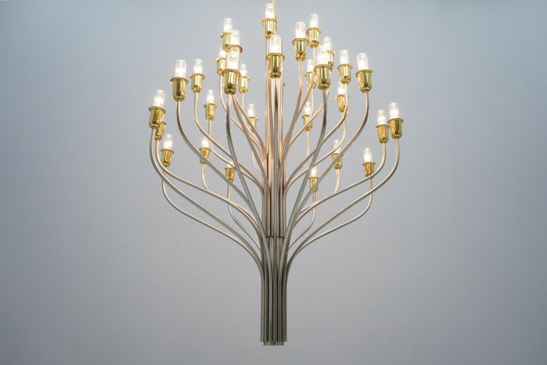 Large Chandelier by WKR Germany in Metal, Glass and Brass, 1980s For Sale 7