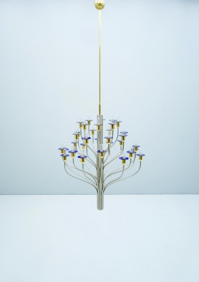 Large Chandelier by WKR Germany in Metal, Glass and Brass, 1980s For Sale 8